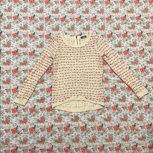 Cream and Purple threaded Sweater